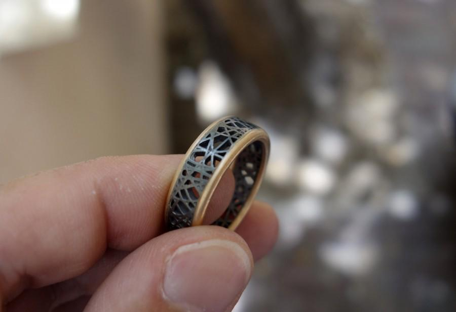 Unique Wedding Ring Oxidized Silver & Gold Ring Mixed Metal Men\'s ...