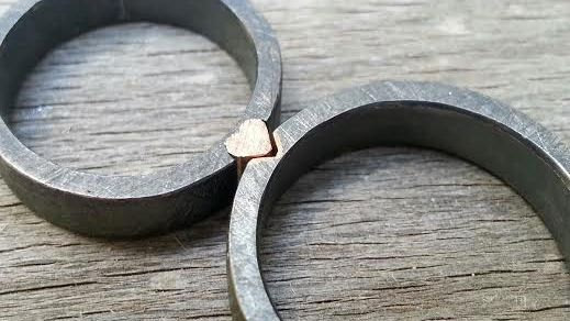 His And Hers Unique Wedding Rings Oxidized Silver Rings Mixed Metals