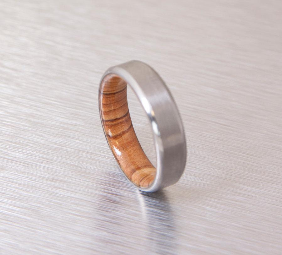 Wedding - olive wood ring titanium band mens wedding wood ring Titanium and Olive Rings // Mens Wood Rings //wood Wedding Band //Men's wedding Band