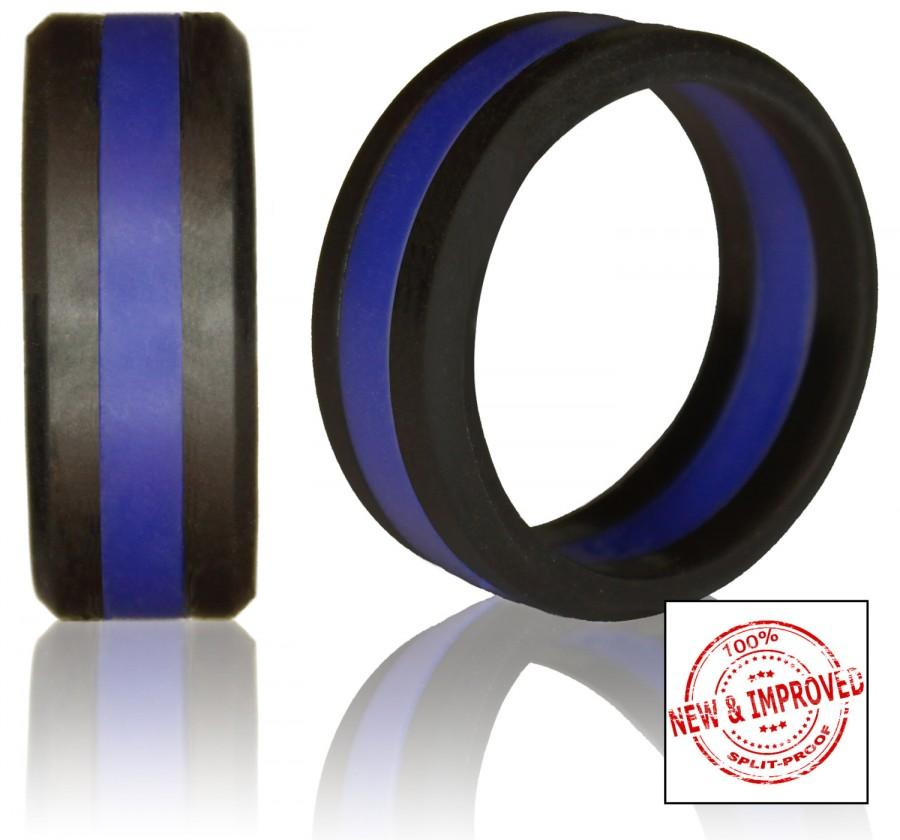 Свадьба - Silicone Wedding Ring by Knot Theory - Safe & Lightweight Wedding Band (Black with Blue Stripe)