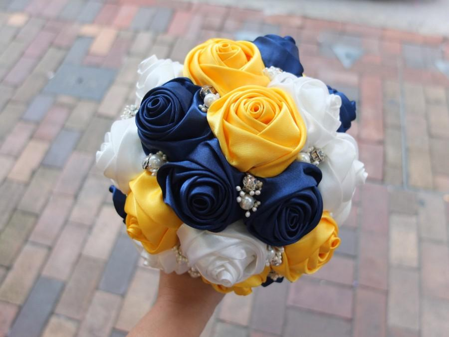 Mariage - Satin Rose Bouquet,  Ribbon Rose Bouquet, Navy & Yellow satin rose accented with rhinestone (Medium,  7 inch)