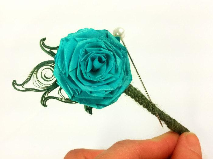 Mariage - Paper Flower Boutonniere Paper Quilling Wedding, paper boutonniere, rustic boutonniere, grooms flower, paper buttonhole, mens wedding flower