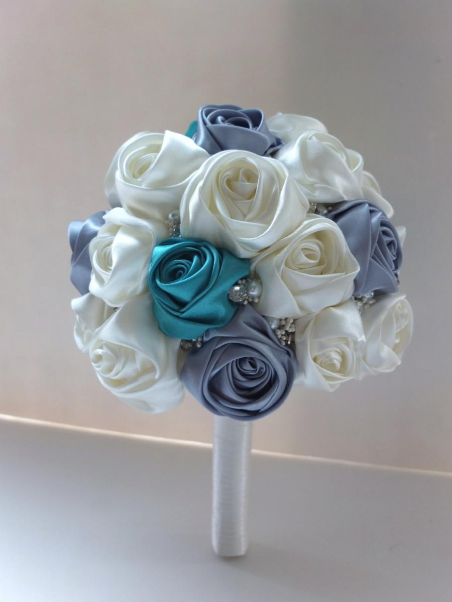 Mariage - Handmade Satin Rose Bouquet,  Ivory, Teal & Light Gray satin rose accented with rhinestone (Medium, 7 inch)