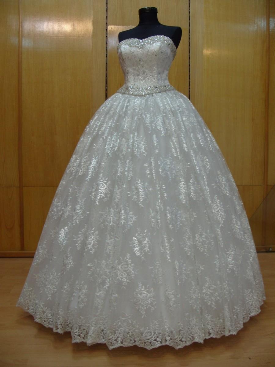 Mariage - Princess Bridal Dress Sweetheart Neckline Ivory Satin Crystal Tulle Lace Swarovski Rhinestones Silver Beads