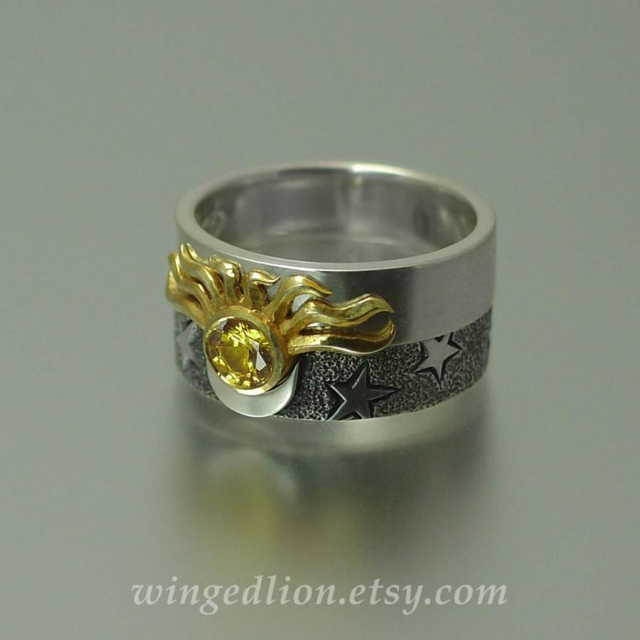 Sun And Moon Eclipse Engagement Ring Wedding Band Set In 18k Gold Silver