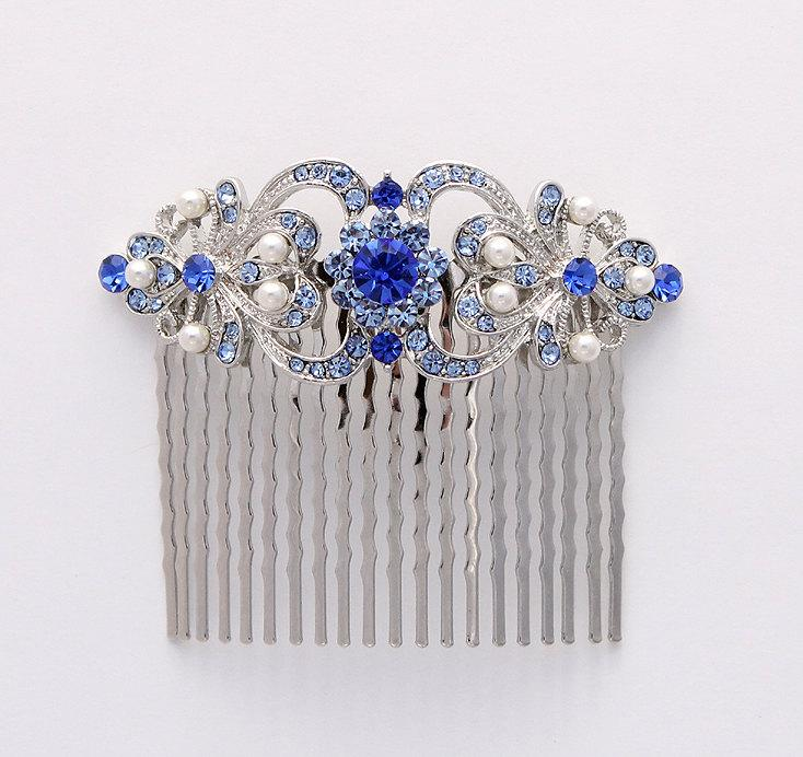 Blue Hair Comb Crystal Blue Pearl Bridal Hair Piece Something Blue