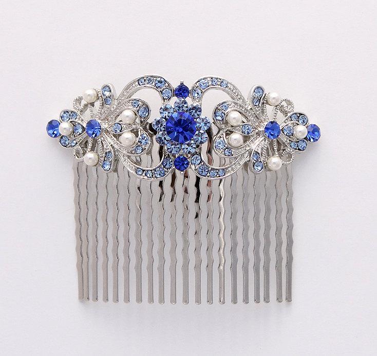 Mariage - Blue Hair Comb Crystal Blue Pearl Bridal Hair Piece Something Blue Wedding Jewelry Rhinestone Silver Blue Hair Combs Prom Headpiece