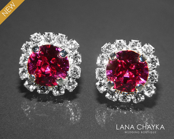 Fuchsia Crystal Halo Earrings Swarovski 8mm Hot Pink Rhinestone Hypoallergenic Earring Studs Dark Silver Bridesmaids