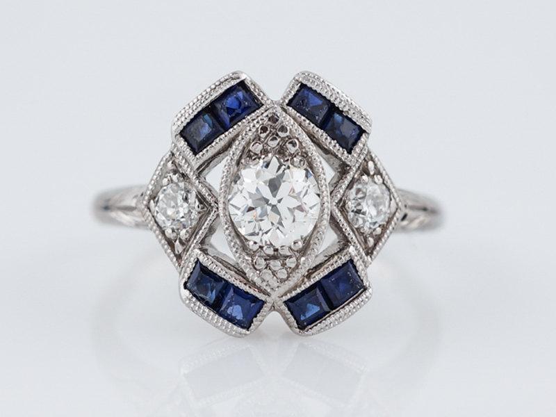 Wedding - Antique Engagement Ring Art Deco .41ct Old European Cut Diamond in Platinum
