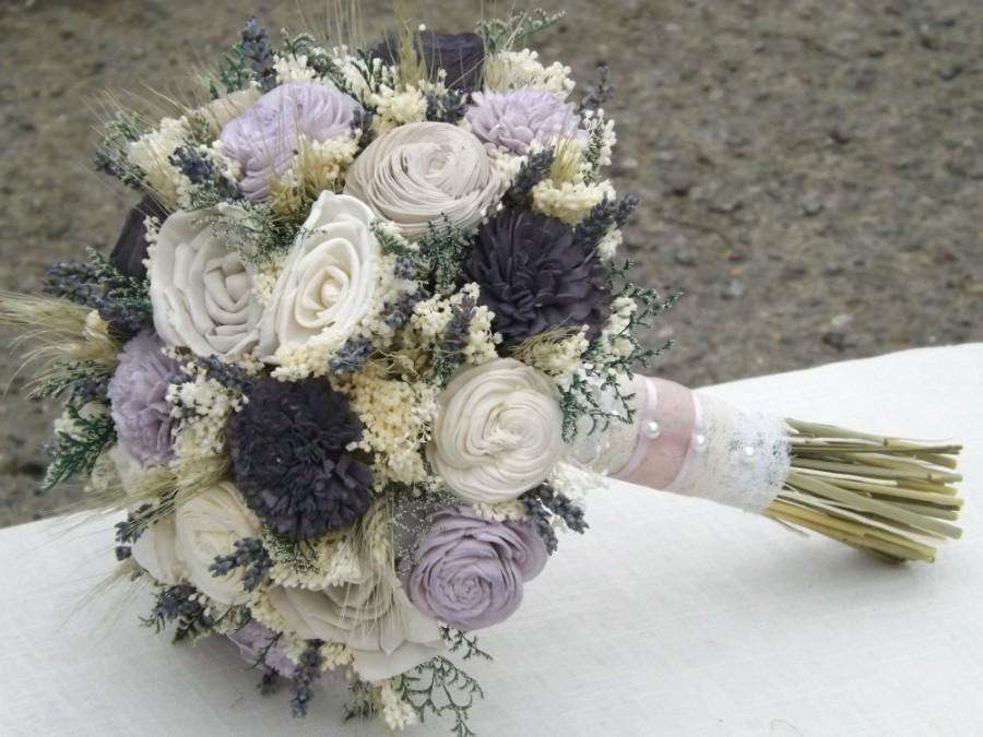 Mariage - Dried Lavender, Wheat, Sola Flower Bride Bouquet Taupe Grape/Dark Purple Lavender Made to Order Custom Colors Available