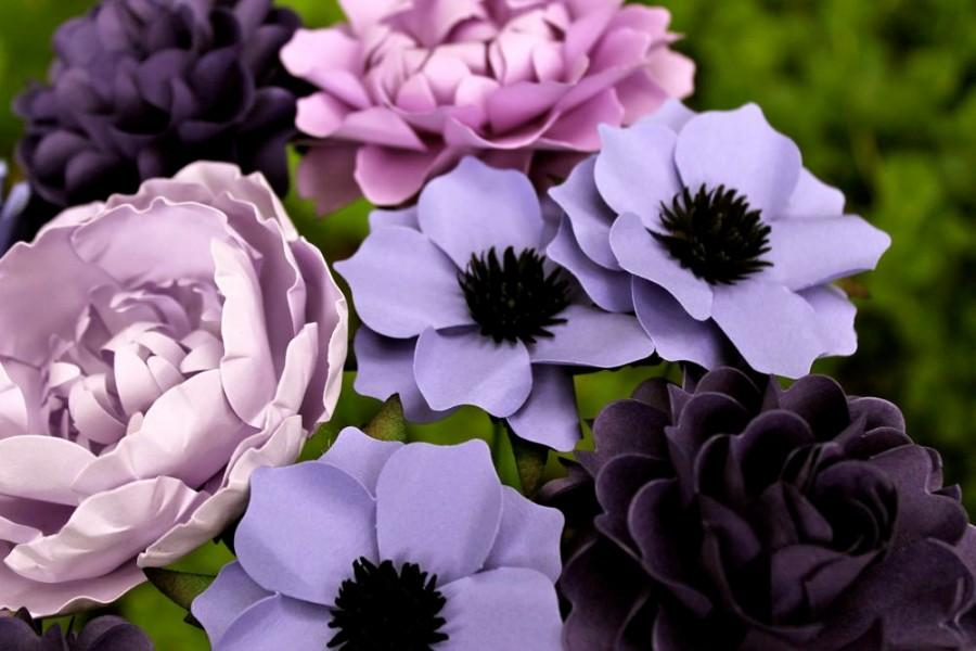 Свадьба - 50 Shades Of Purple - MIX Flowers - Handmade Paper Flowers -Set of 12 - On stems - Made to Order - Customize your style and colors
