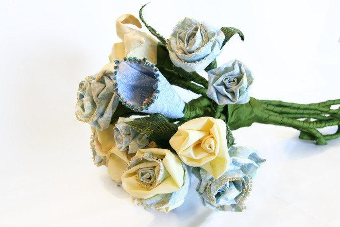 Mariage - Hand Crafted Creamy Yellow and Pale Blue Everlasting Sculpted Fabric Flower Bouquet - Wedding Bouquet for Bridal or Gift