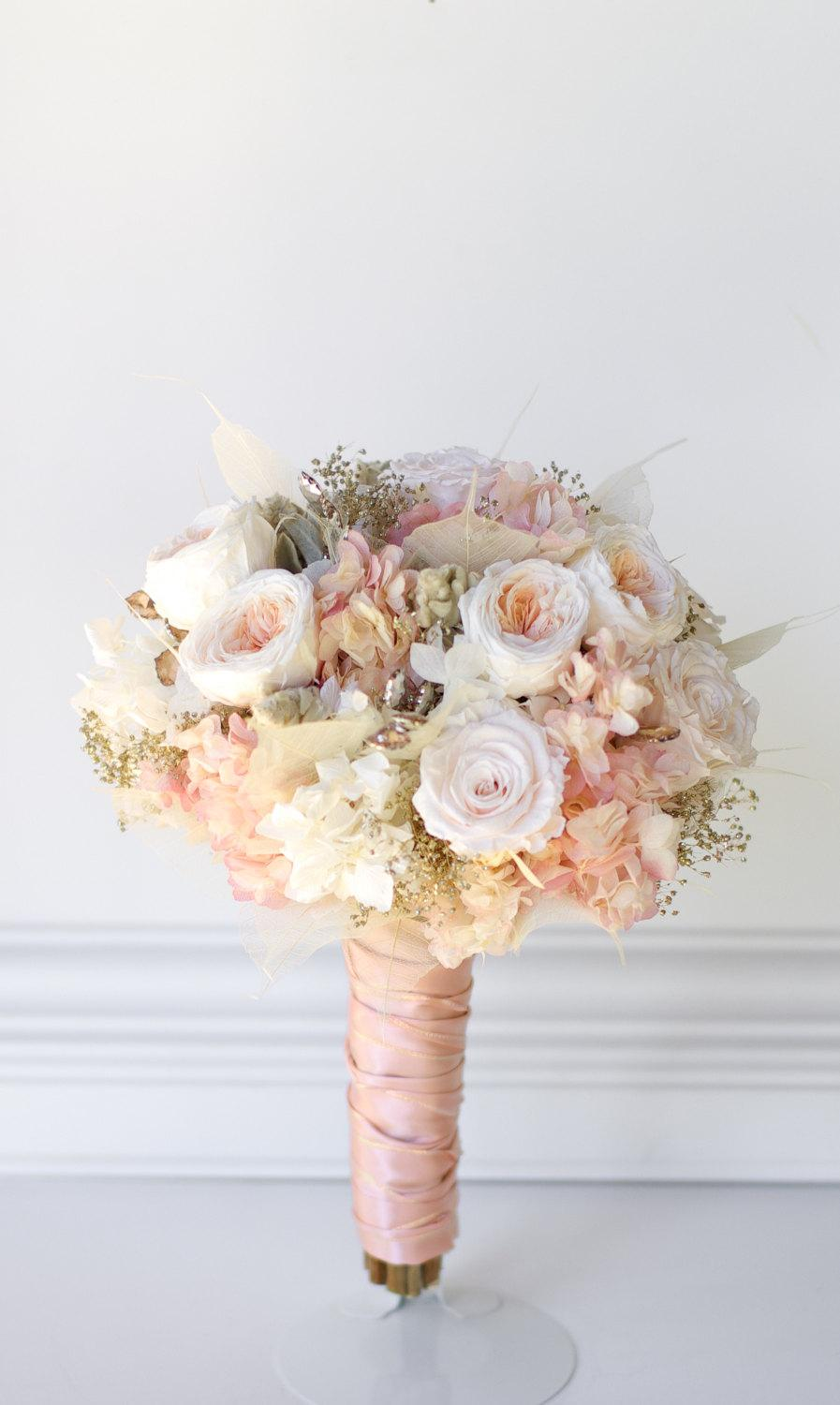 Rose gold bridal bouquet preserved flowers not dried flowers pink rose gold bridal bouquet preserved flowers not dried flowers pink and white roses hydrangea gold babies breath matching bridesmaids izmirmasajfo