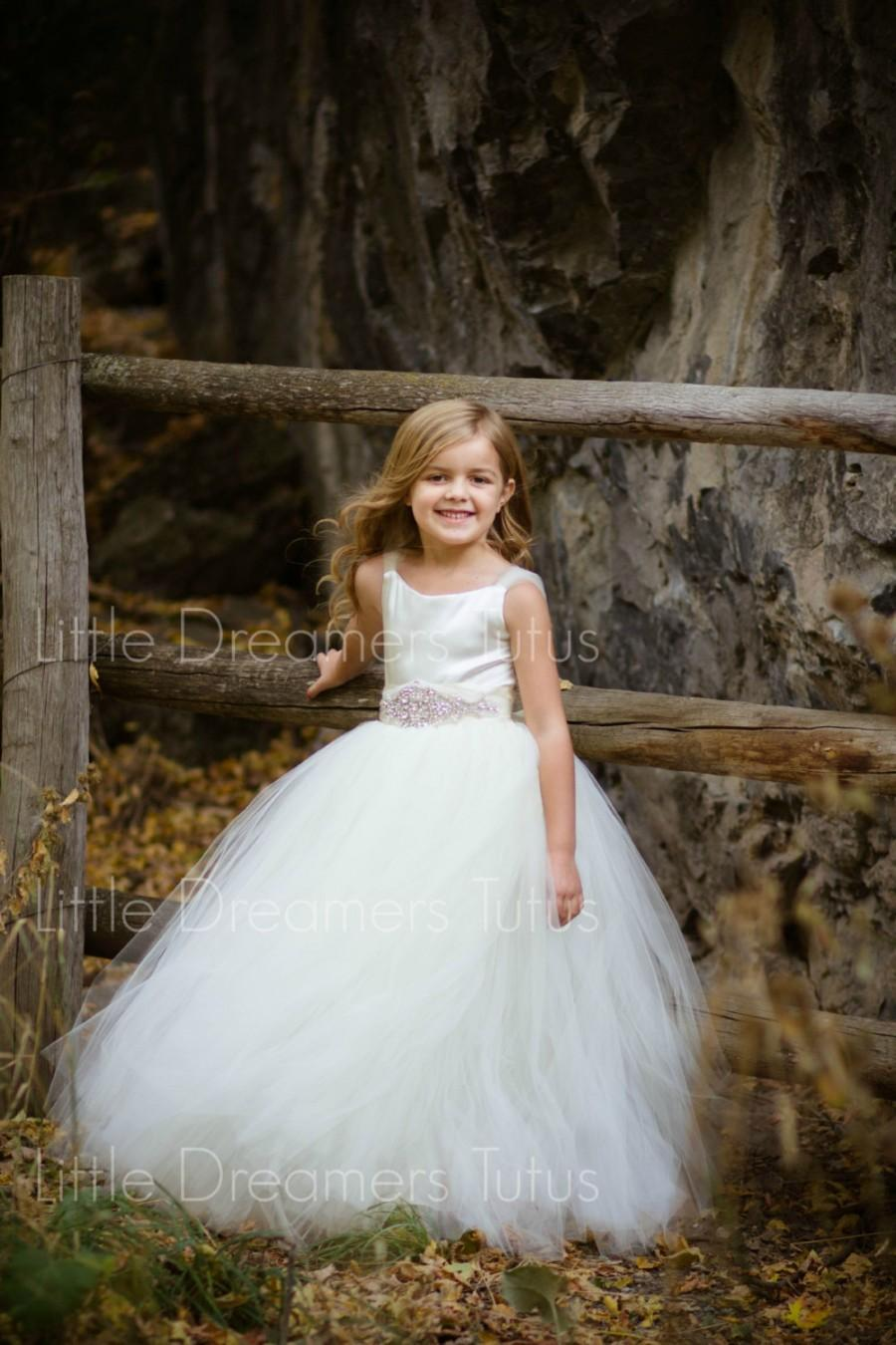 Mariage - NEW! The Ella Dress in Ivory with Deluxe Rhinestone Sash