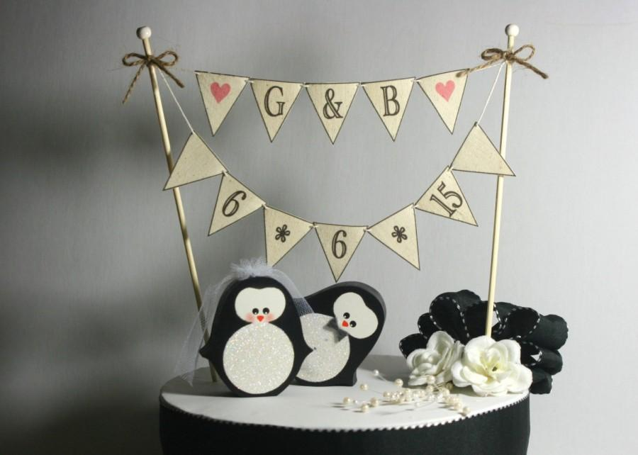Mariage - COMBO Penguins Wedding Cake Topper Plus BANNER