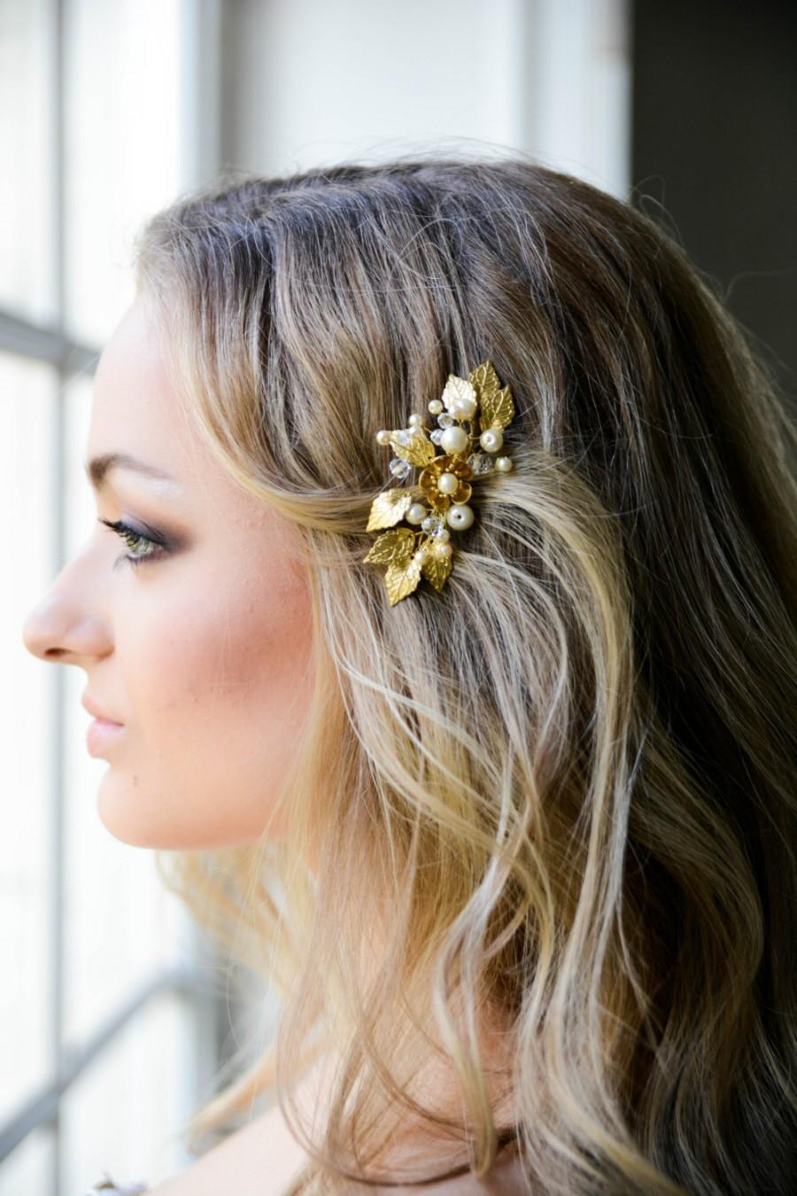 Свадьба - Bridal hair comb gold - Bridal headpiece - Wedding headpiece - Bridal hair comb - Flower headpiece
