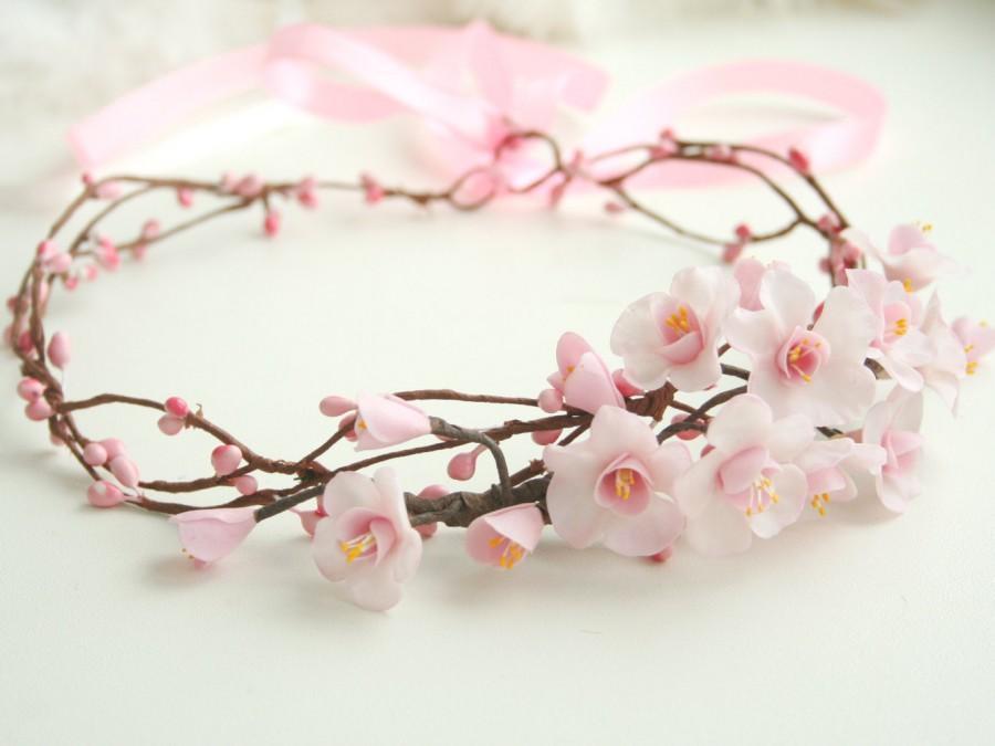 Mariage - Cherry blossom crown,  bridal flower crown, wedding flower crown, pink bridal crown, Bridal flower headpiece, spring wedding, sakura