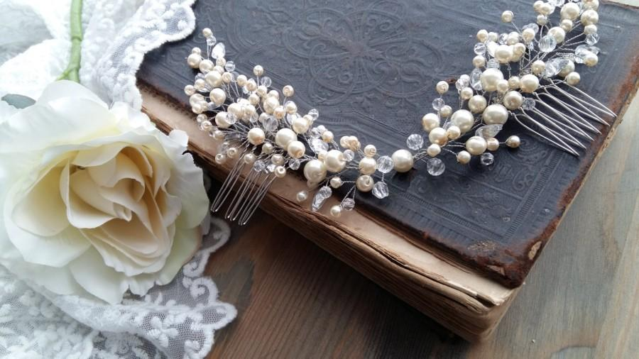 Hochzeit - Pearl Bridal headpiece - Pearl bridal hair comb - pearl hair comb - ivory pearl hair comb - pearl bridal comb