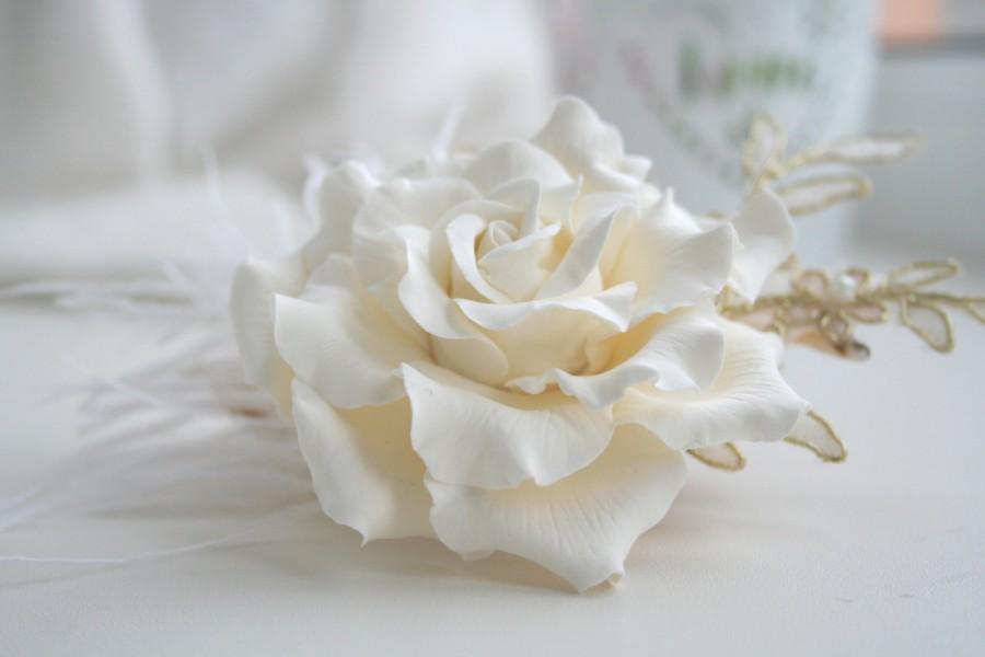 Mariage - Cream Rose flower Bridal hair flower Wedding hair flower Wedding flower headpiece Bridal lace headpiece Lace hair