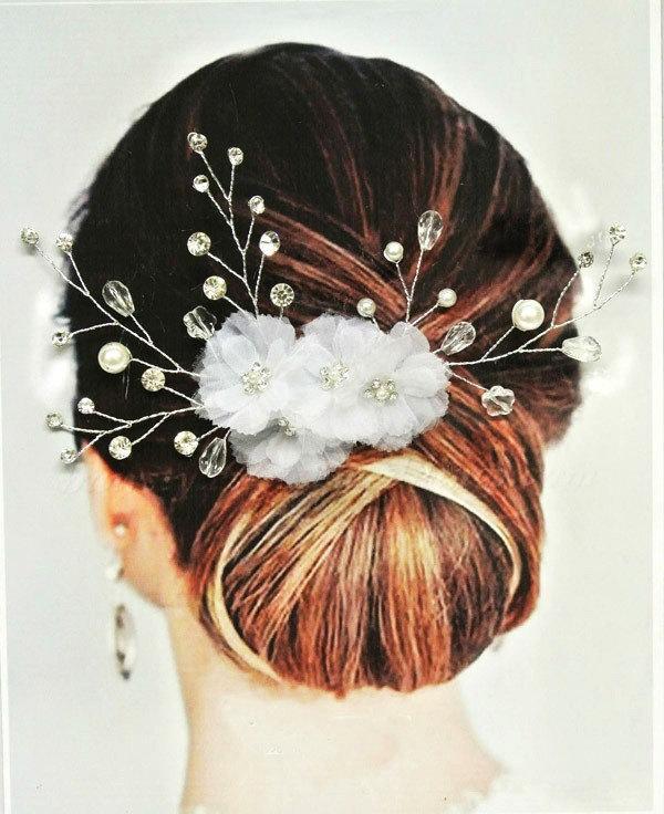 Mariage - Vienna Bridal Hair Comb, Wedding Hair Comb, Floral Hair Comb, Wedding Hair Accessories, White Floral Hair Comb, Bridal Headpiece