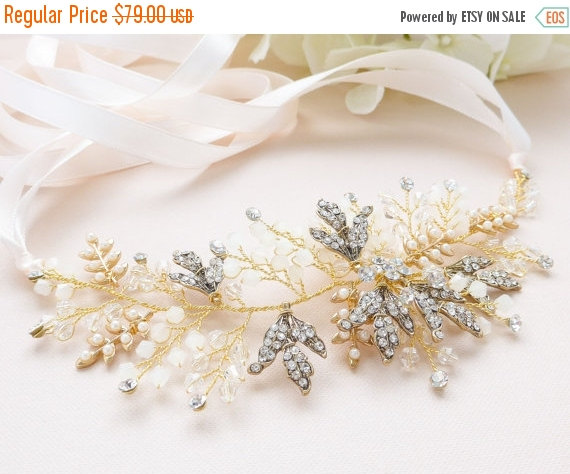 Hochzeit - SALE 35% OFF Gold Boho Headpiece Hair Vine, Blush Pink Bridal Headband, Wedding Flower Headpiece, Bridal Hair Accessories, Pearl Headband, H