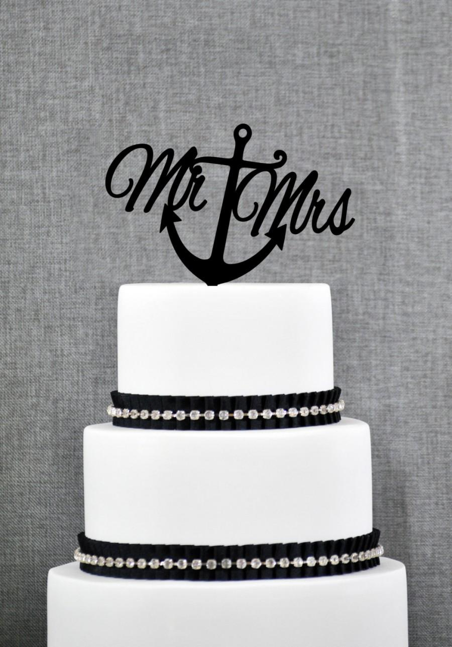 Mariage - Nautical Mr and Mrs Cake Topper with Anchor – Nautical Wedding Cake Topper Available in 15 Colors and 6 Glitter Options- (S078)