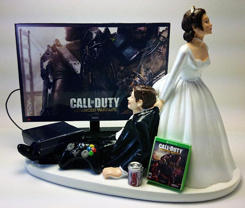 Свадьба - Gamer Addict Xbox One Funny Wedding Cake Topper Bride and Groom COD AWF