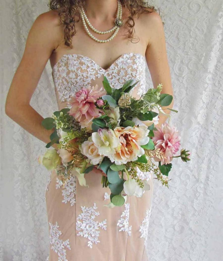 Soft Pink Peach Bridal Bouquet With Roses And Dahlias Ready To