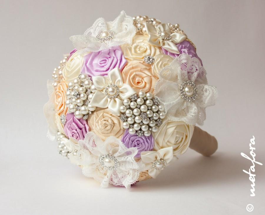 Mariage - SALE!!! Brooch bouquet, Lilac-Ivory Fabric Wedding Bouquet, Unique Fabric Flower Bridal Bouquet