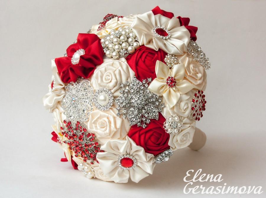 Mariage - SALE!!! Brooch Bouquet. Ivory RED Fabric Bouquet, Unique Wedding Bridal Bouquet