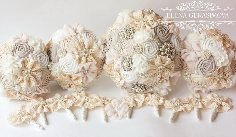 Mariage - Fabric Bouquet, Vintage Bouquet, Rustic Bouquet, Unique Wedding Bridal Bouquet, bridesmaid bouquet