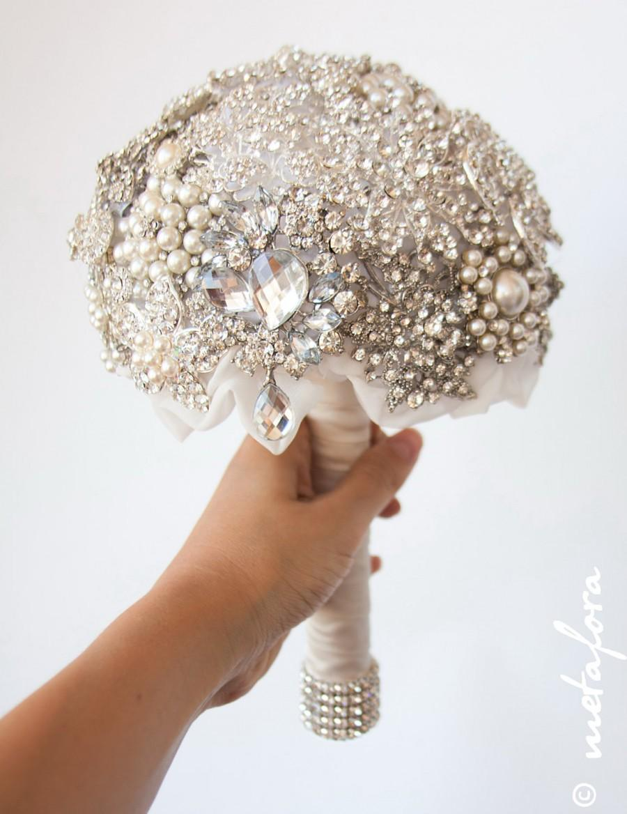 زفاف - SALE!!! Diamante Brooch Bouquet - Bridal Bouquet - Wedding Bouquet