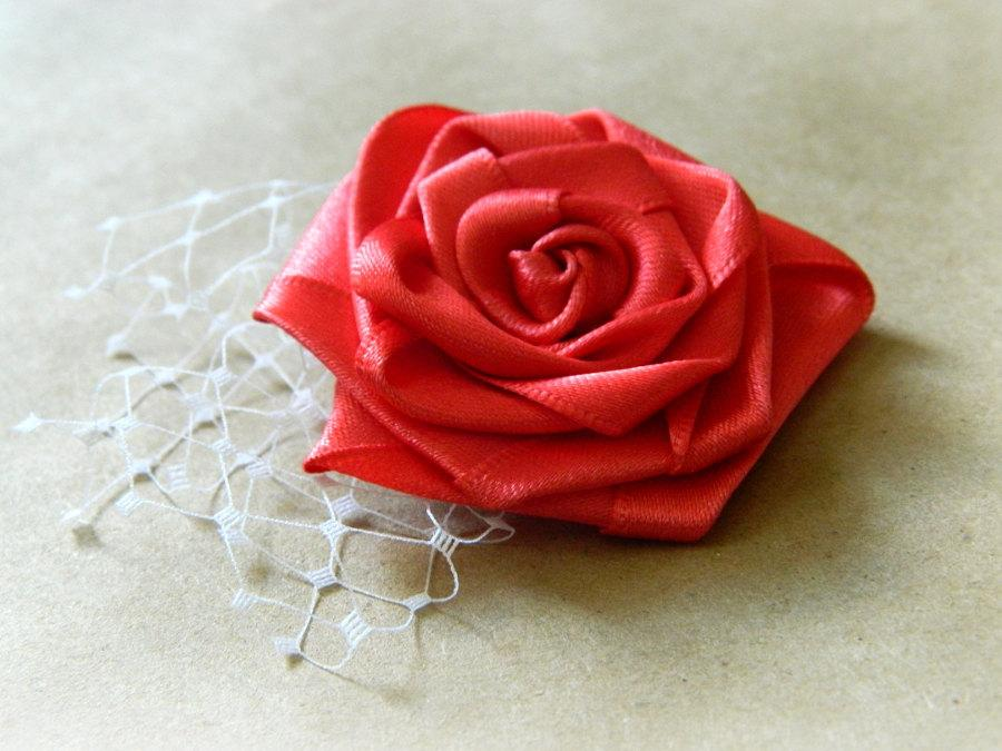 Hochzeit - Coral Rose Hair Clip, Flower Girl Clip, Birdcage Veil Clip, Guava Bridesmaid Hairpiece
