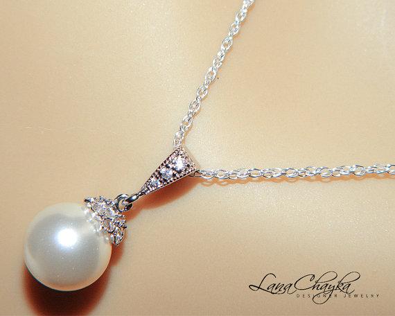 Свадьба - Wedding White Drop Pearl Necklace Sterling Silver CZ White Pearl Necklace Swarovski 10mm Pearl Bridal Necklace Bridal Jewelry Weddings