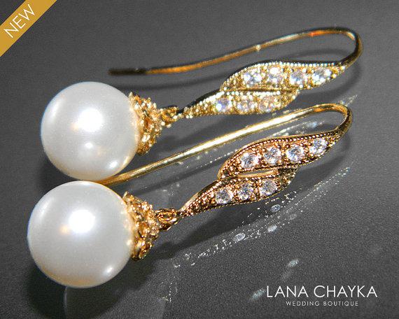 Свадьба - White Pearl Bridal Earrings Swarovski 10mm Pearl Vermeil Gold Cubic Zirconia Earrings Bridal Drop White Pearl Earrings Bridal Pearl Jewelry