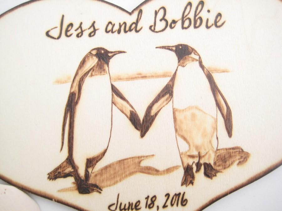 Winter Wedding Cake Topper Penguin Couple Rustic Wood Anniversary Gift Unique Love Bird Personalizable PYROGRAPHY