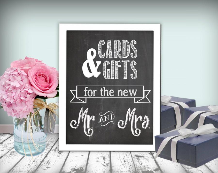 Hochzeit - Cards & Gifts Wedding Sign Chalkboard Printable 8x10 PDF DIY Rustic Shabby Chic Woodland Cards And Gifts For The New Mr. and Mrs.