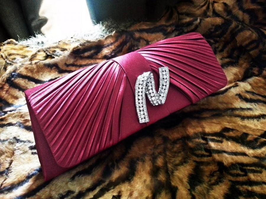 Hochzeit - Red/Burgundy Rhinestones Wedding Clutch - Satin Bridal Purse - Formal Clutch Bag - Xmas Gift - Love Bling Bling