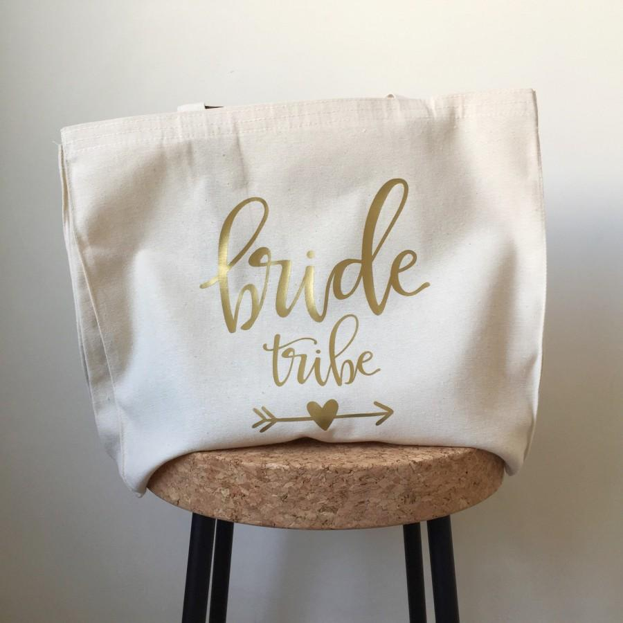 Свадьба - Bride tribe tote bag, wedding tote bag, bachelorette tote, bridal tote bag, bridesmaid tote, custom tote bag, honeymoon bag