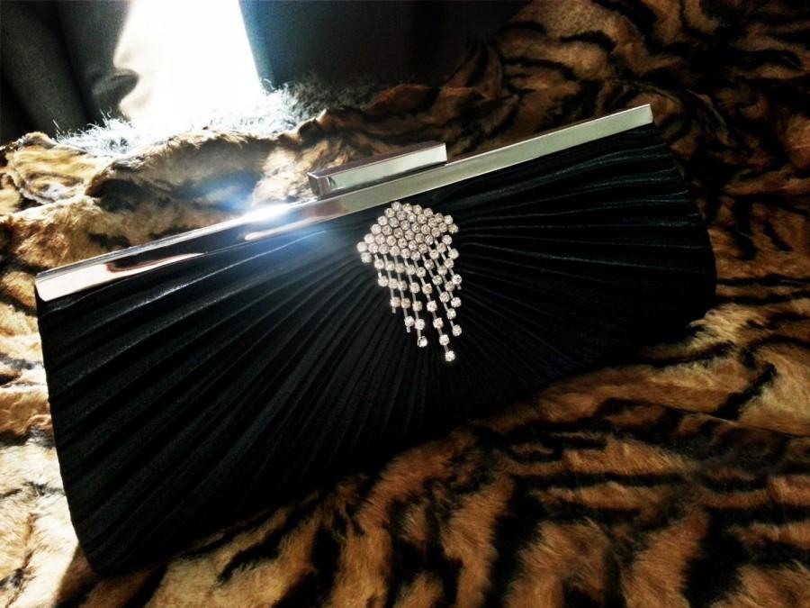 Свадьба - Black Bridal Clutch with Rhinestones Chandelier  - Wedding Clutch Bag - Black Formal Evening Purse - Bridesmaids Gifts - Christmas Present