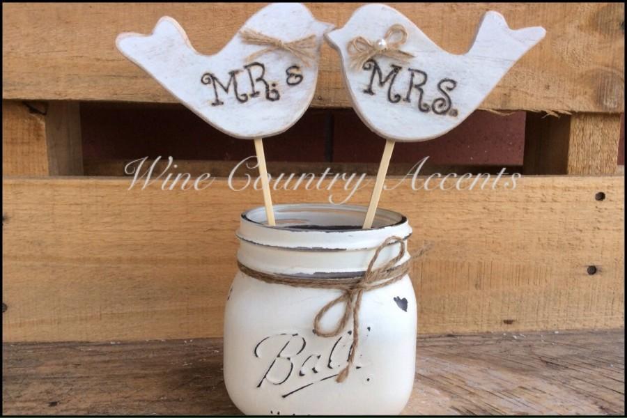 Свадьба - Wedding Cake Topper. Rustic Wedding Cake Topper. Cake Topper. Love Birds Cake Topper. Wooden Love Birds. Mr. & Mrs. Cake Topper.