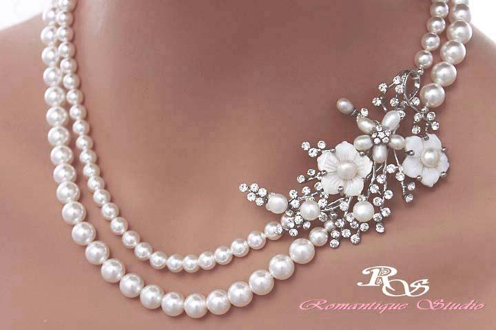 Pearl Bridal Necklace Statement Wedding Brooch Jewelry Accessories 2124
