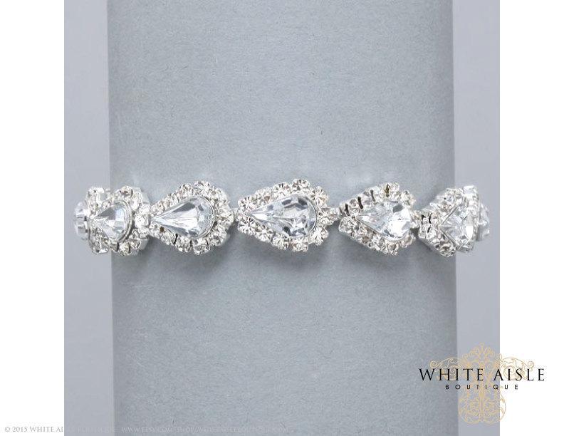 Wedding - Rhinestone Bracelet, Bridal Bracelet, Evening, Statement Bracelet, Bridesmaids Jewelry, Formal