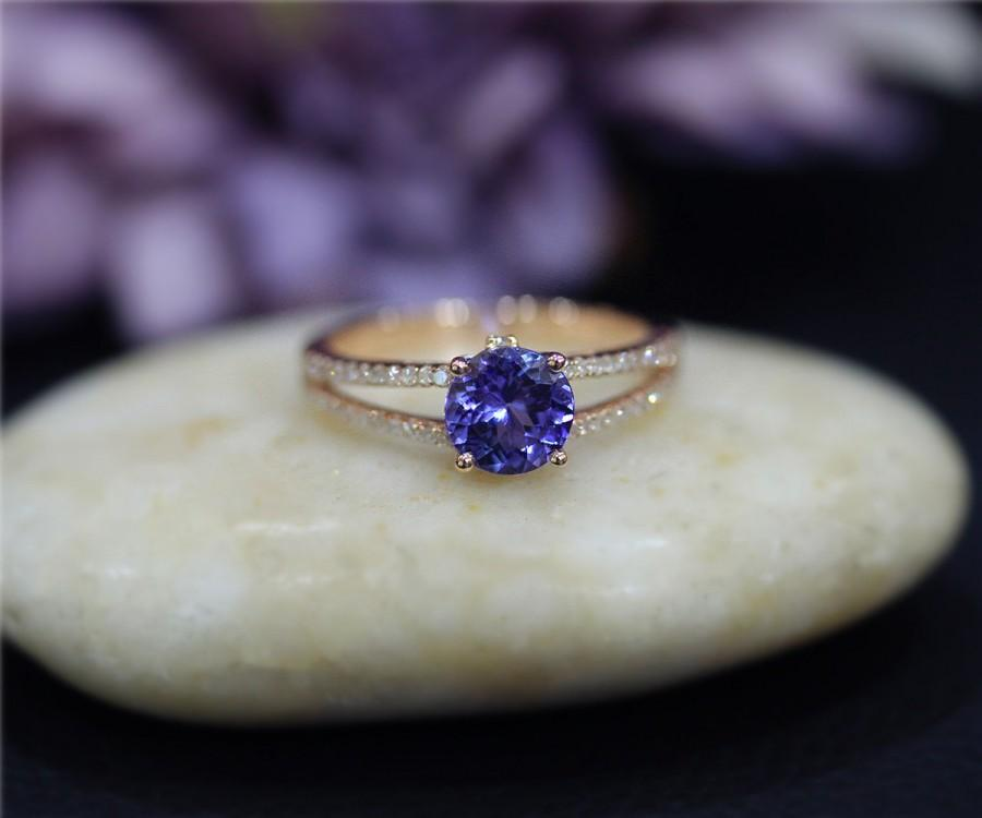 Tanzanite Engagement Ring 6 5mm Round Natural Tanzanite Wedding