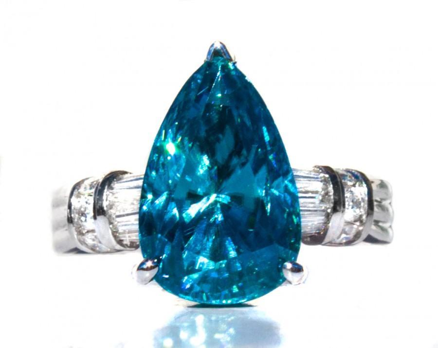 Wedding - Natural 10 ct Cambodian Blue Zircon Pear & Diamond Ring