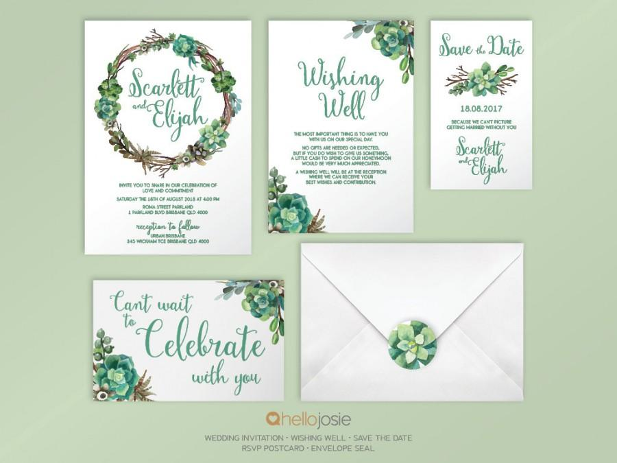 Succulent Woodland Boho Printable DIY Wedding Invitation Stationery ...
