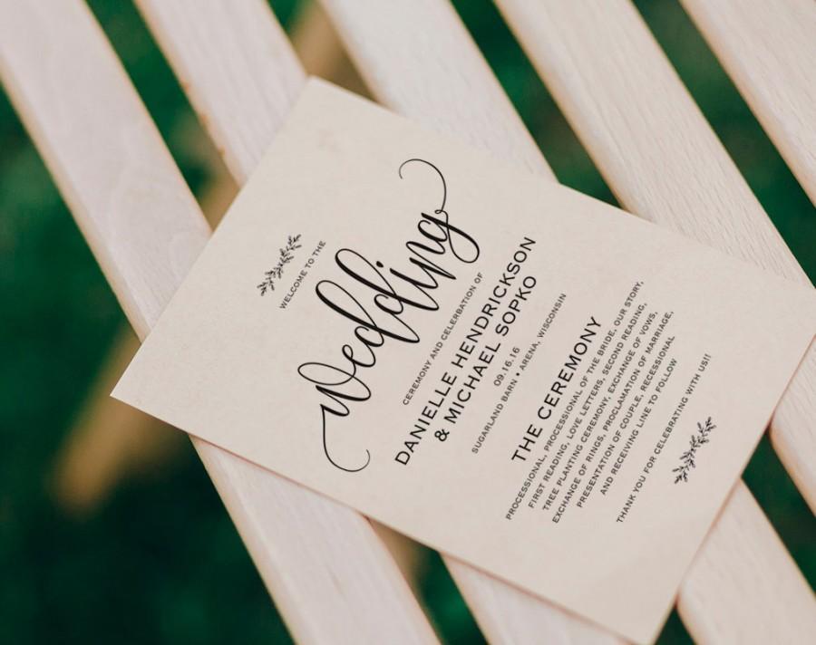 Свадьба - Wedding Program Printable, Wedding Program Template, Rustic Wedding, Ceremony Printable Template, Fan, PDF Instant Download