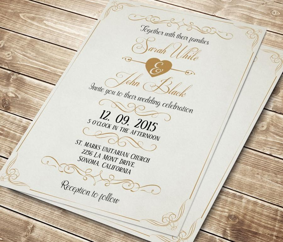 Printable Wedding Invitation Calligraphic Invite Digital Template Vintage