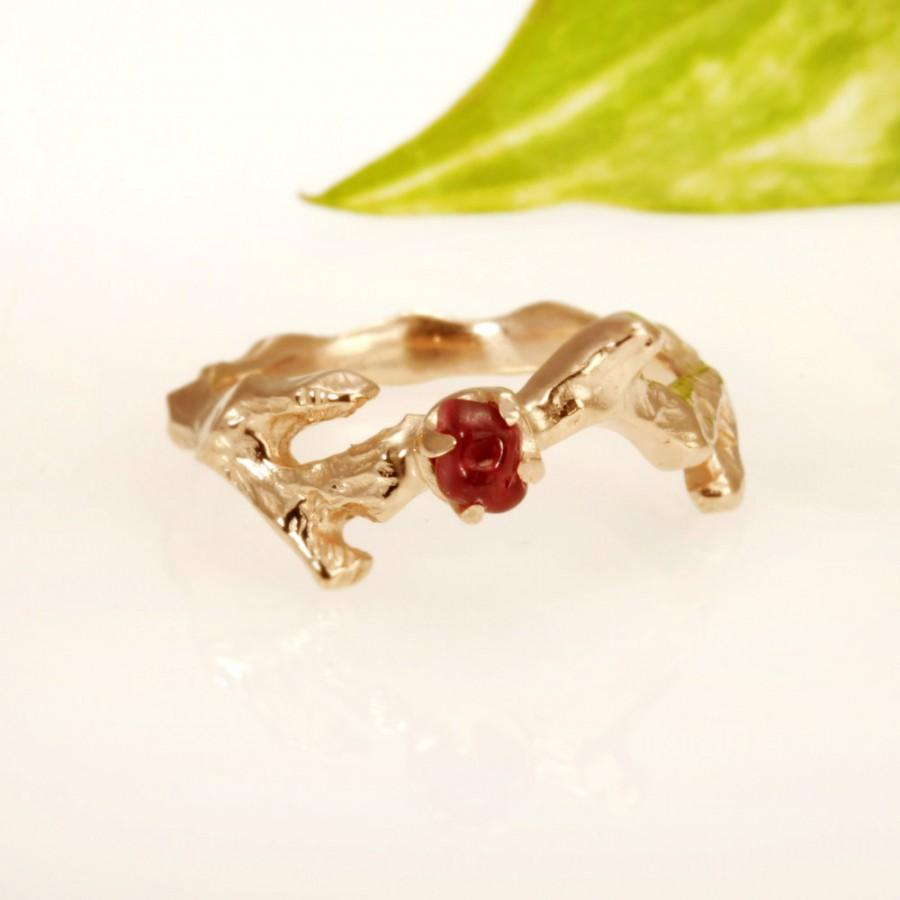 زفاف - 14kt Rose gold . Set Natural Ruby. engagement ring promise ring rose gold.  RG-1112