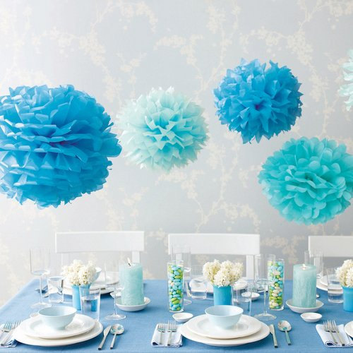 Wedding - Baby Blue, Light Blue Tissue Paper Pom Pom Set
